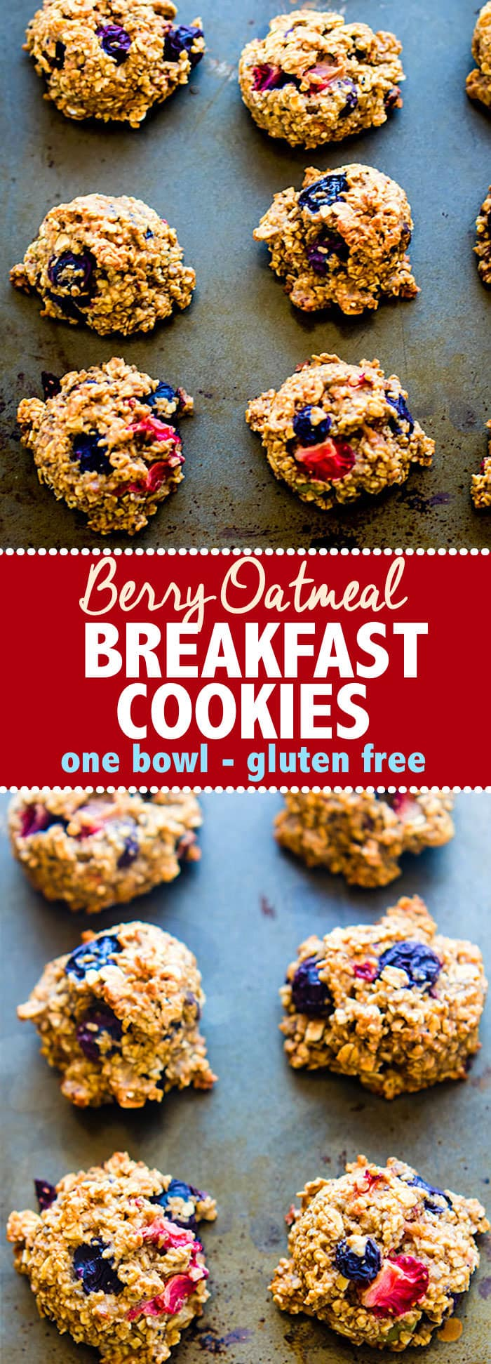 One Bowl Berry Oatmeal Breakfast Cookies. Fresh Fruit combined with gluten free oats to makehealthy breakfast cookies. Great for breakfast to go, snacks, or dessert. Easy to make, dairy free and egg free options, simpleingredients, and DELISH