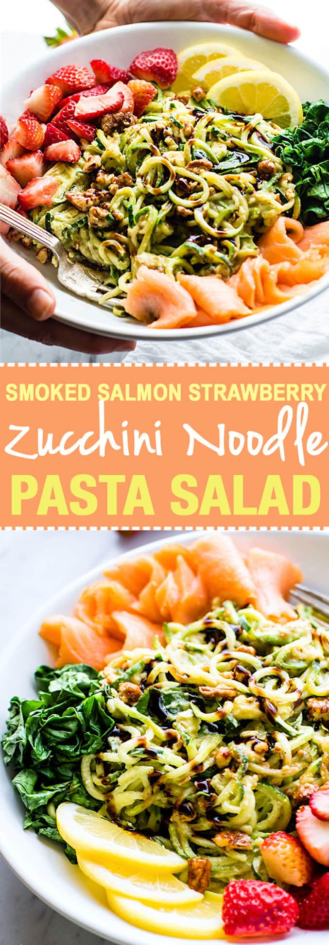 Smoked Salmon and Strawberry Zucchini Noodle Pasta Salad! A healthy lower carb Zucchini noodle pasta salad with a creamy avocado sauce and paired with the fresh strawberries, spinach, and smoked salmon. This gluten free Salad bowl is perfect for a spring or summer lunch or side dish. Clean ingredients, real food, UNREAL GOOD! @cottercrunch