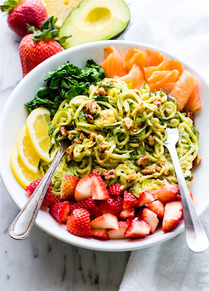 Smoked Salmon and Strawberry Zucchini Noodle Pasta Salad! A healthy lower carbZucchini noodle pasta salad witha creamyavocado sauce and paired with the freshstrawberries, spinach, and smoked salmon. This gluten free Salad bowl is perfectfor aspring or summer lunch or side dish. Clean ingredients, real food, veggie fruit packed!