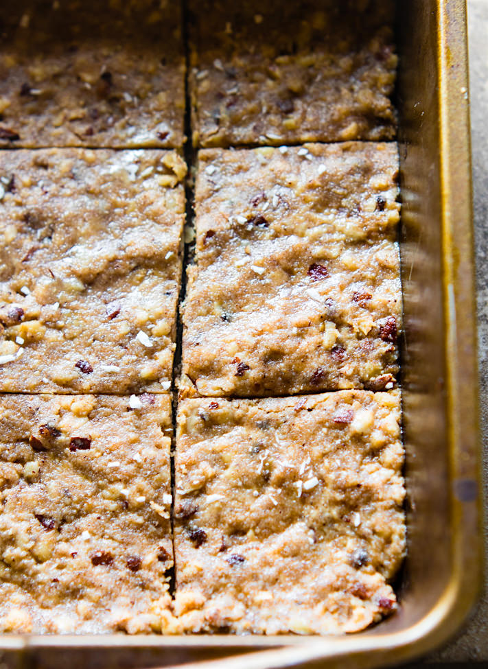 "Super easy 3 Step Paleo ""Baklava"" Bars in pan"