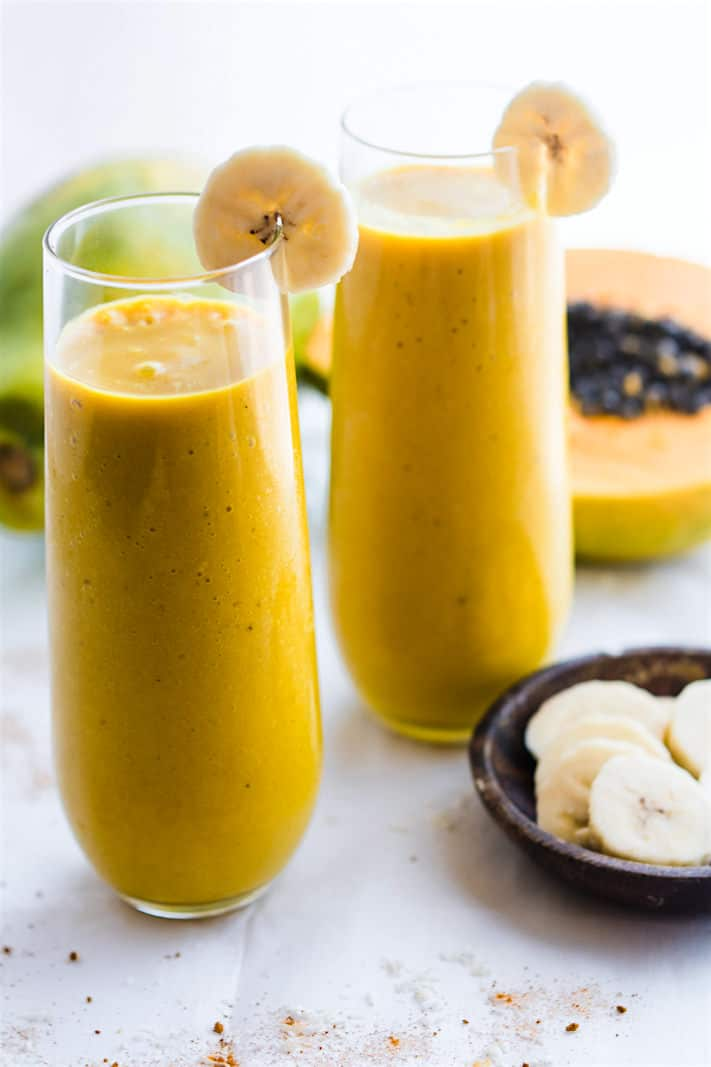 Turmeric Golden Milk Vegan Tropical Smoothie!! A healthy Anti-inflammatory smoothie with nutrients from turmeric golden milk and tropical fruit combined!