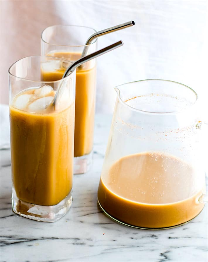 Vegan Overnight Thai Iced Coffee. A super simple THAI iced coffee that's healthy and packed with flavor! This vegan iced coffee version is perfect to make ahead and enjoy the next morning. A tasty lower sugar alternative homemade iced coffee you can drink without guilt!
