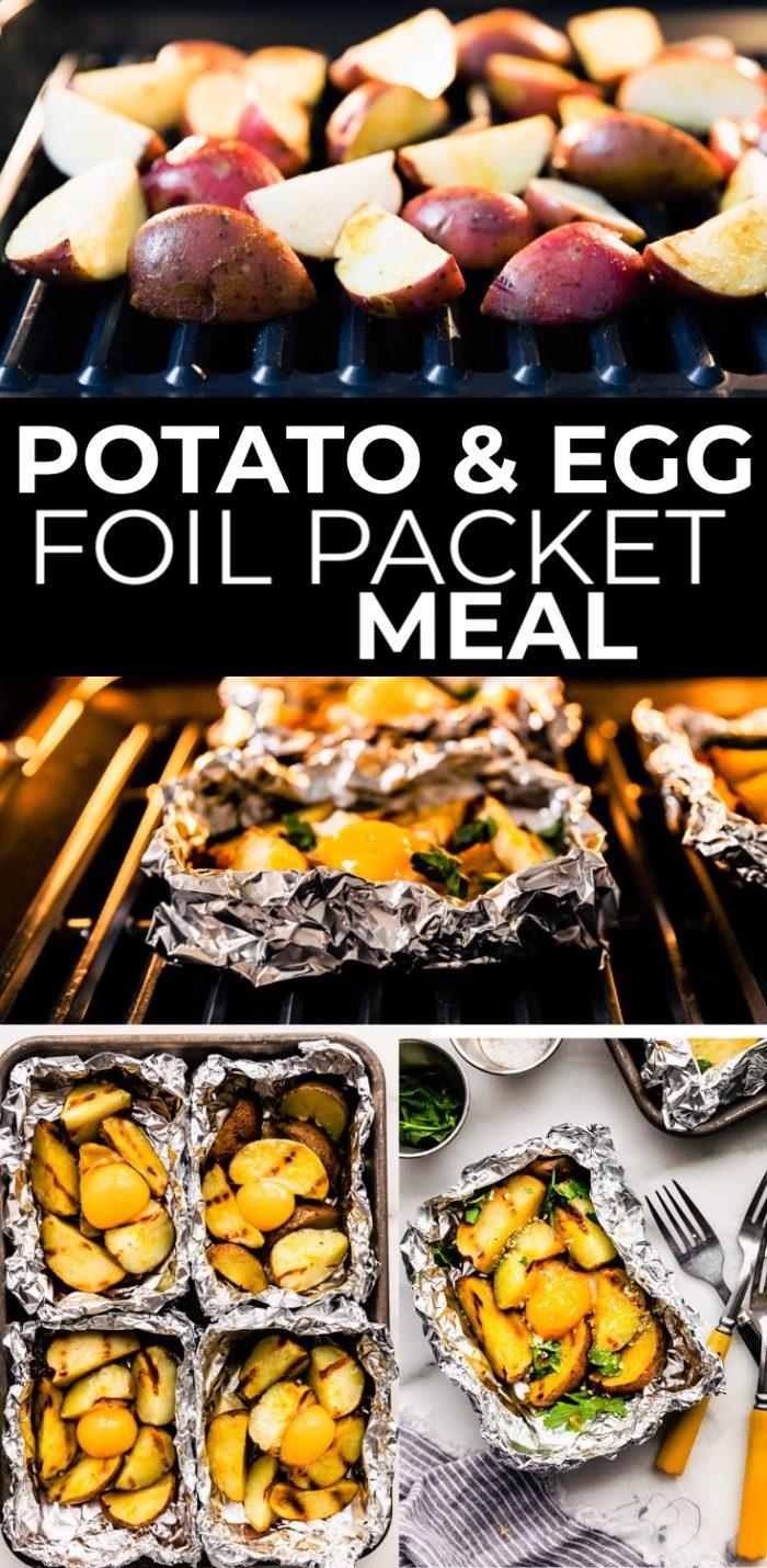 aluminum foil packet potatoes dinner on table