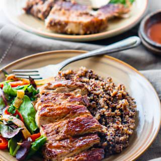 Gluten free BBQ Cherry One-Pot Pork Chops and Quinoa.