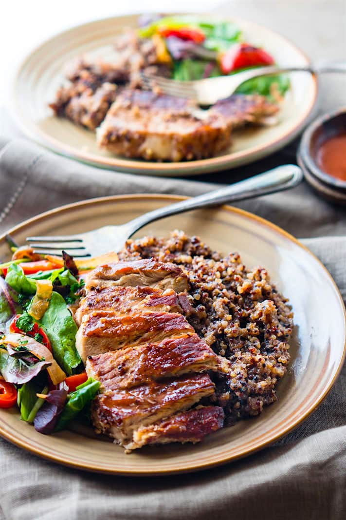 EASY One-Pot BBQ Cherry Pork Chops and Quinoa. Healthy Dairy Free, Gluten Free Meal Plan Recipes