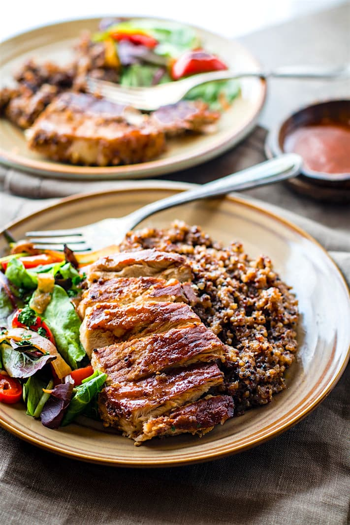 Easy Gluten free BBQ Cherry One-Pot Pork Chops and Quinoa. A super simple gluten free one-pot meal that feeds the family Healthy, nourishing, and delicious.