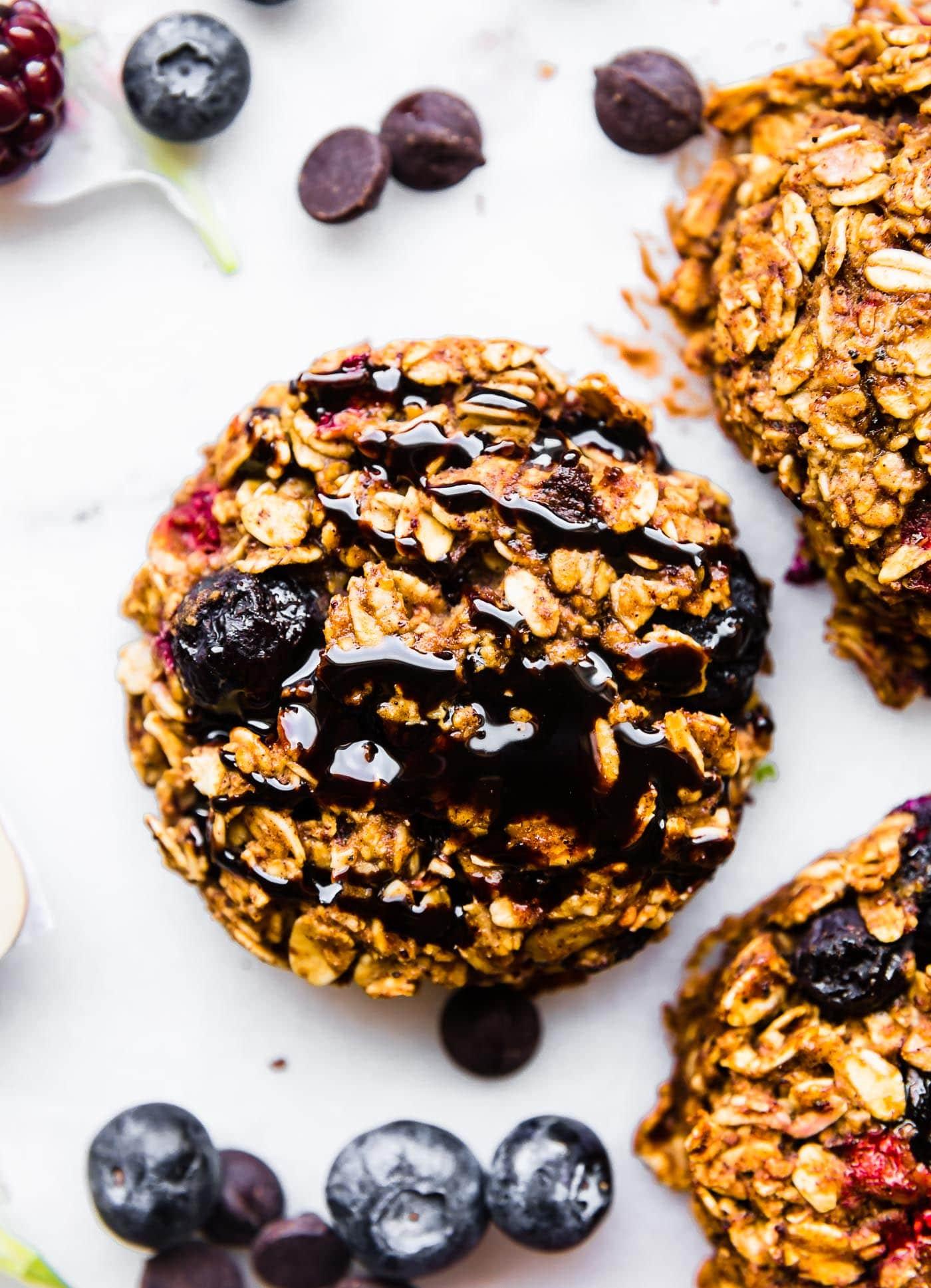 ONE BOWLGluten Free BerryOatmeal Breakfast Cookies with dark chocolate