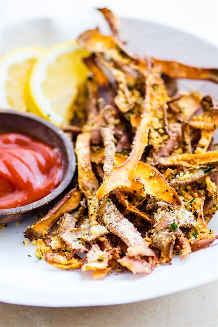 Healthy oven baked parmesan sweet potato skin fries healthy oven baked parmesan sweet potato skin fries super simple oven baked sweet potato skin ccuart Choice Image