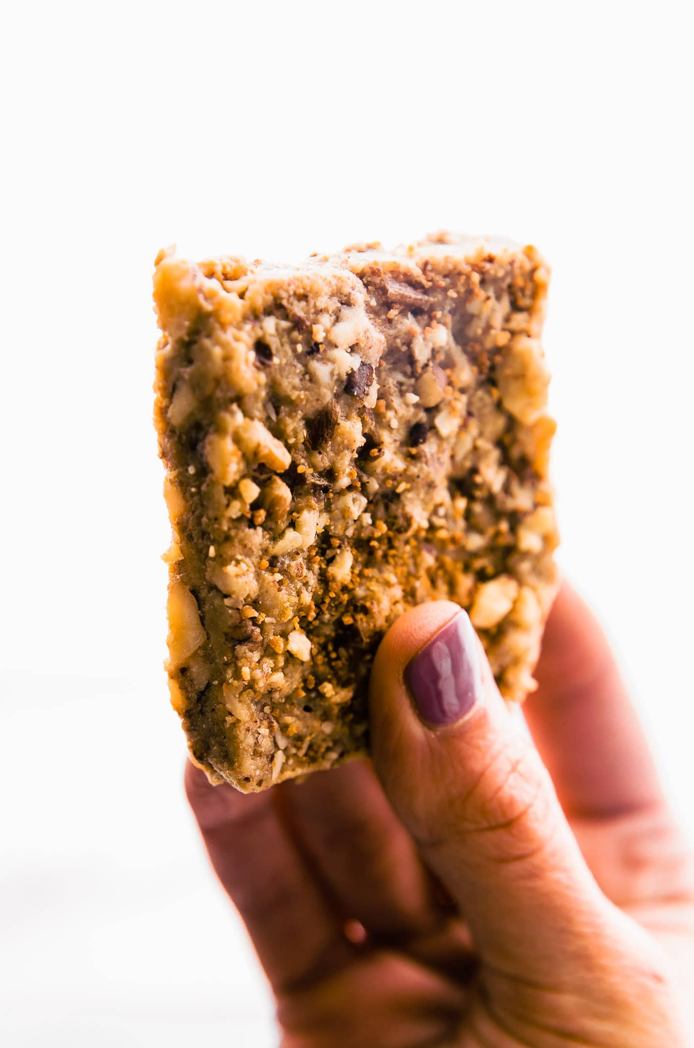 "easy 3 Step Paleo ""Baklava"" Bars in hand"