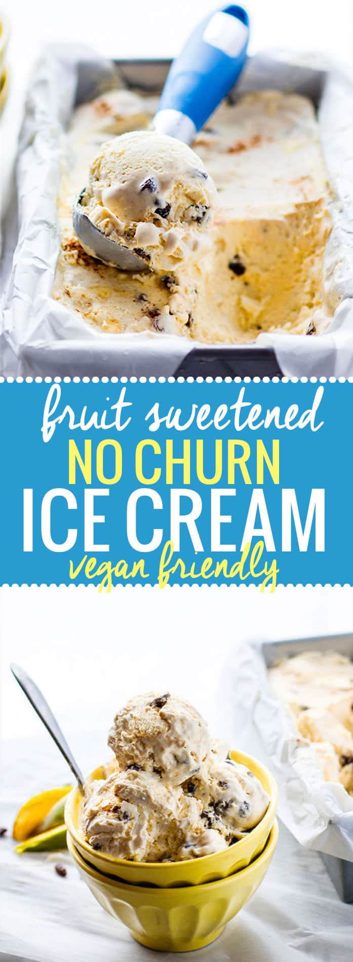 Vegan friendly Fruit sweetened no churn ice cream that's creamy, easy to make without condensed milk, just 5 ingredients! Paleo friendly too! @cotercrunch
