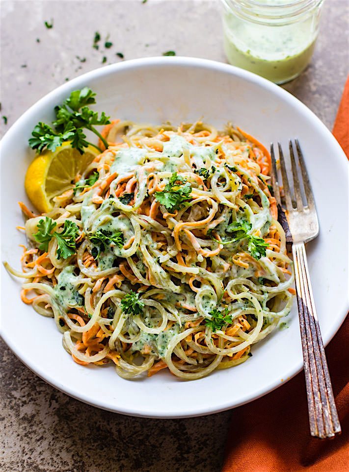 The perfect healthy potluck side dish salad! vegan green goddess spiralized potato pasta salad {Paleo}