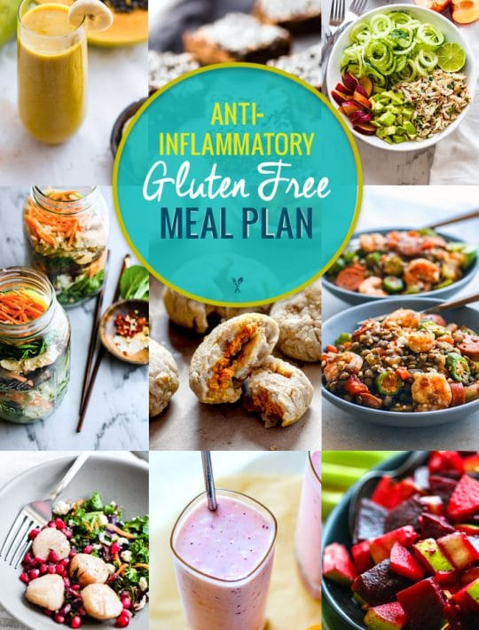 anti-inflammatory gluten-free meal plan photo collage