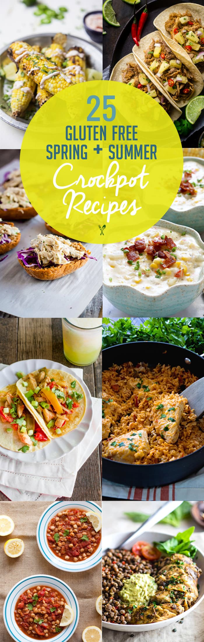 25 Spring/Summer gluten free Crock Pot Recipes! Easy, healthy, gluten free crock pot recipes you can enjoy during warmer months! Fresh ingredients, great for potlucks, and literally NO SWEAT!