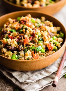 Quick Pineapple Paleo Cauliflower Fried Rice {with extra Protein}