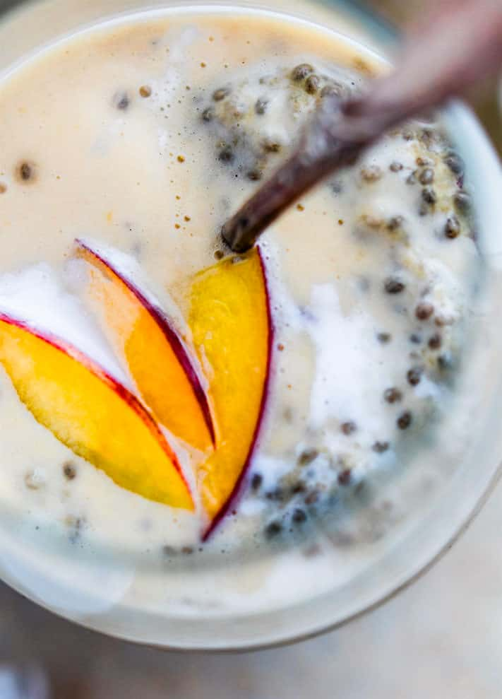 Peaches and Cream Vegan chia pudding! This EASY breakfast and dessert style Vegan Chia pudding recipe is protein packed, Healthy for digestion, gluten free.