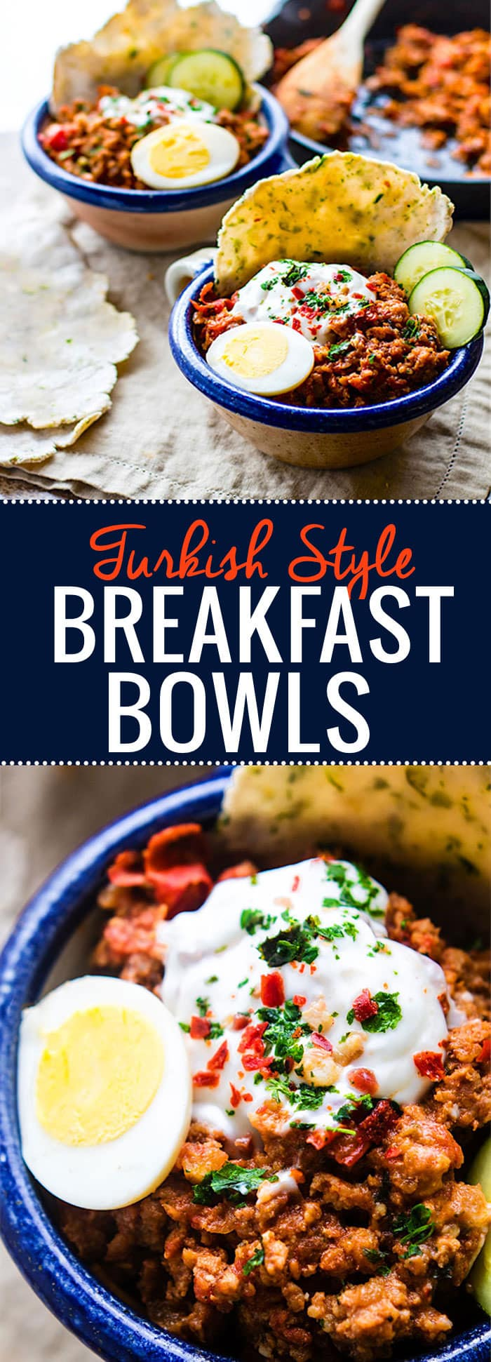Grain Free Turkish Style Savory Breakfast Bowls. One pan is all you need to make these healthy savory breakfast bowls. Packed with all spicy breakfast sausage, herbs, spices, egg, and a tangy yogurt topping! Great for breakfast, brunch, or dinner. Perfect with paleo flatbread or crusty gluten free toast. @cottercrunch