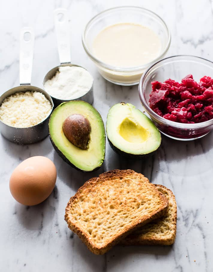 ingredients to make an avocado toast recipe with beets and fried avocado