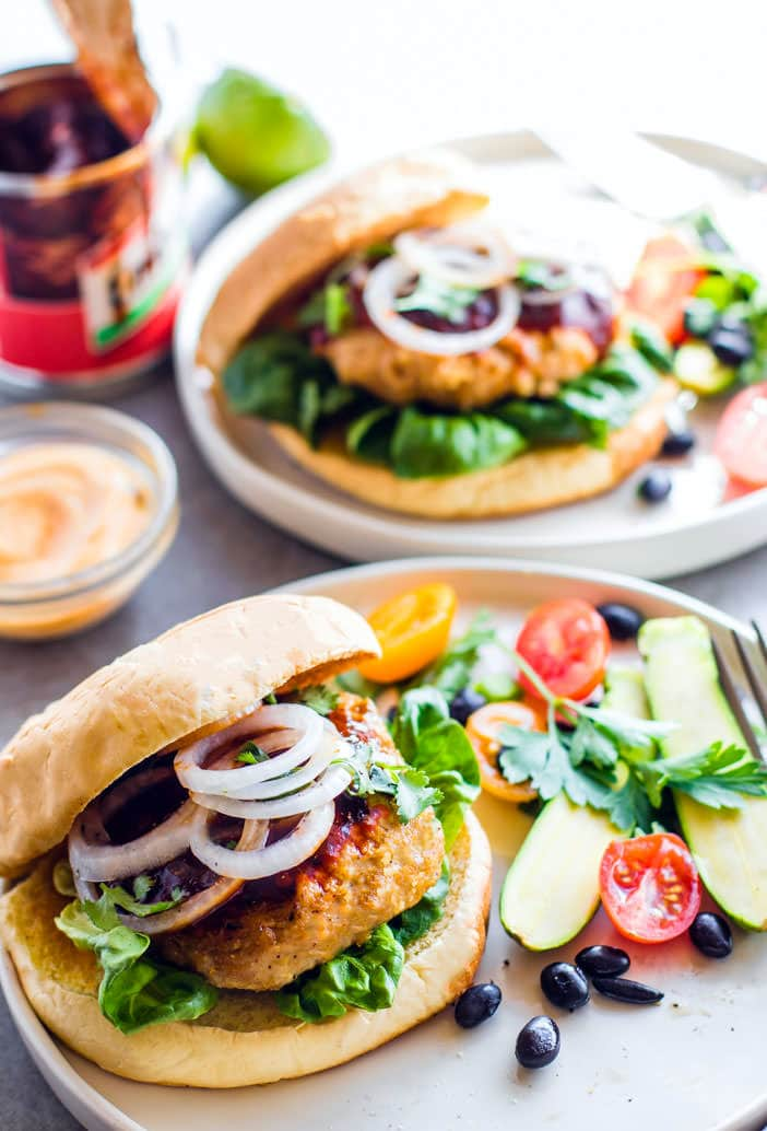Grilled Adobo Chicken Burgers. Mexican and Filipino style adobo chicken flavors all mixed together then grilled to perfection. Gluten free Chicken Burgers!