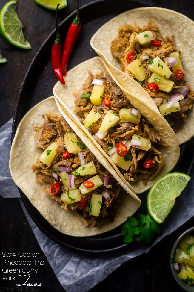Crock pot thai pulled pork tacos! Healthy and easy! @foodfaithfit
