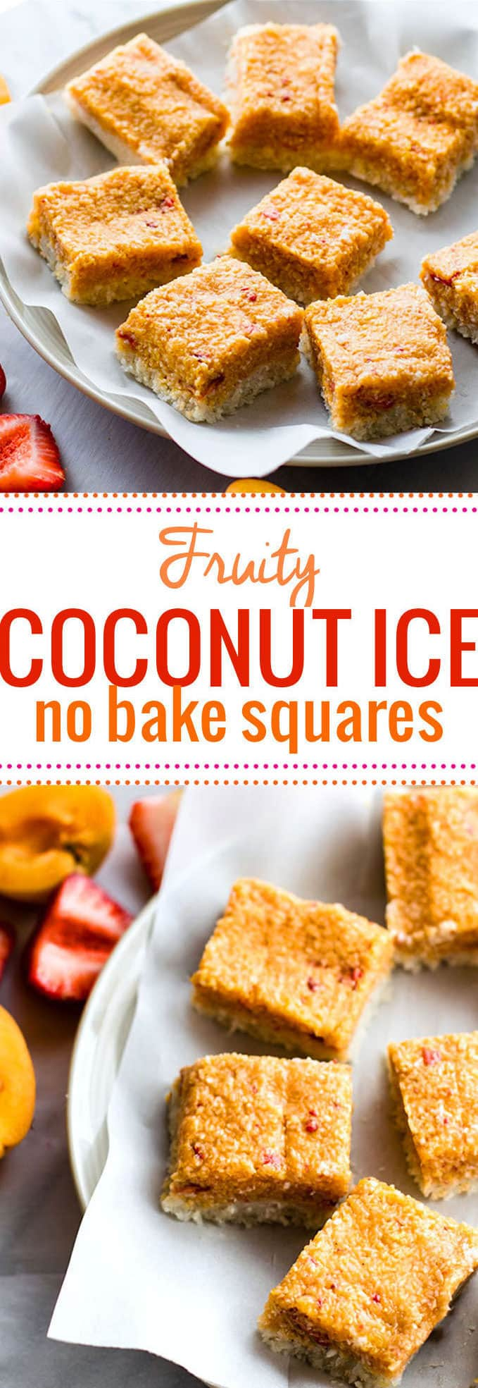 No Bake Fruity Vegan coconut ice squares! This gluten free healthier coconut ice recipe is easy to make, doesn't need cooking, and is quick to put together. Tasty too! @cottercrunch