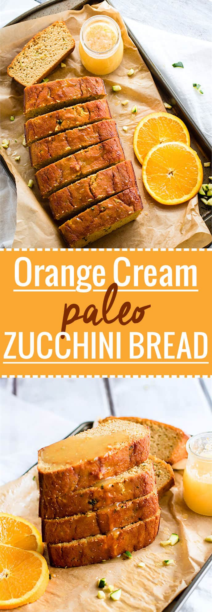 Zesty Orange Cream Paleo Zucchini Bread! A classic zucchini bread recipe made healthy, paleo, and packed with vitamin C! This paleo zucchini bread is an easy to make and super refreshing with a ginger glaze to drizzle on top. @cottercrunch