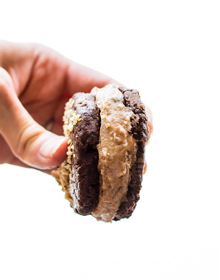 AMAZING Flourless Double Chocolate Nut Cookie Sandwiches! These flourless cookie sandwiches that are actually healthy, easy to make, and Gluten Free and Paleo friendly! Dark chocolate, chocolate chips, and a nutty filling that will make your mouth water. Snack or dessert, you decided! Dairy free options.