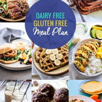 titled photo collage: Dairy-Free and Gluten Free Meal Plan