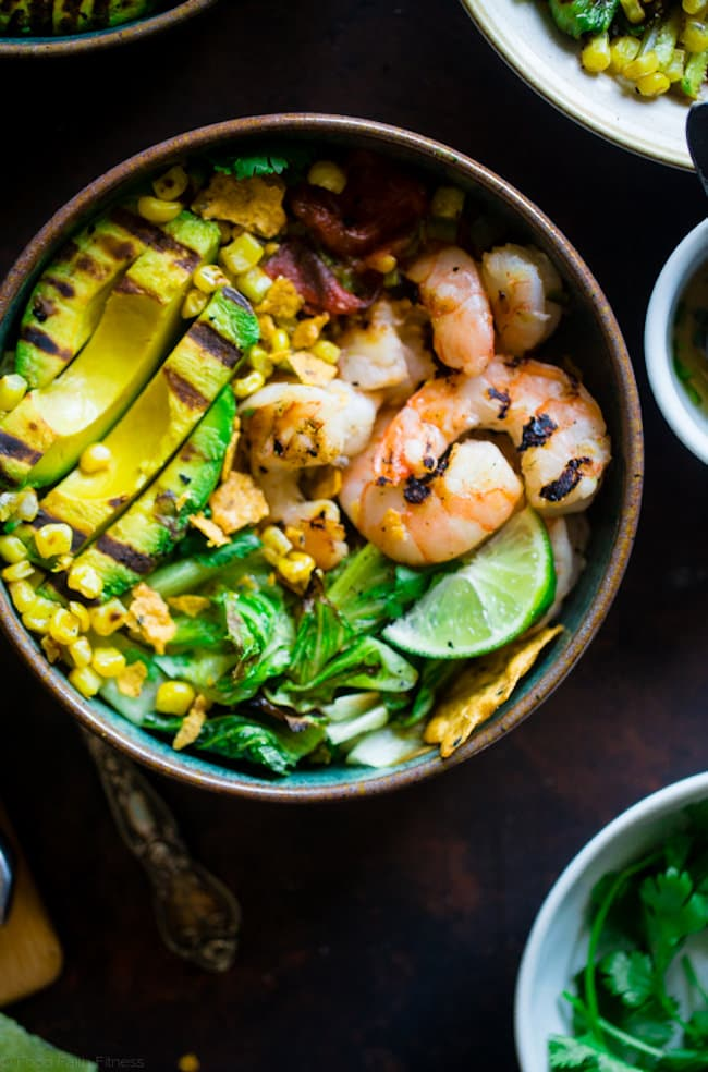 Honey Lime Grilled Avocado Shrimp Nachos Bowls
