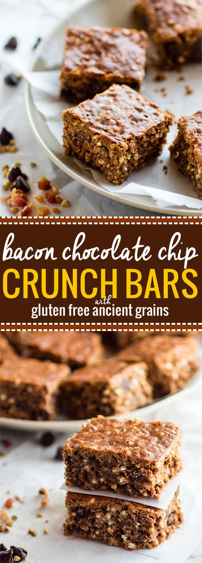 "Bacon Chocolate Chip homemade Crunch Bars! The original ""crunch"" bar just got an upgrade! These gluten free crunch bars are and made with uncured bacon bits, dark chocolate chips, cocoa, and ancient grains! Sweet, crunchy, salty, and just plain DELICIOUS! @cottercrunch"