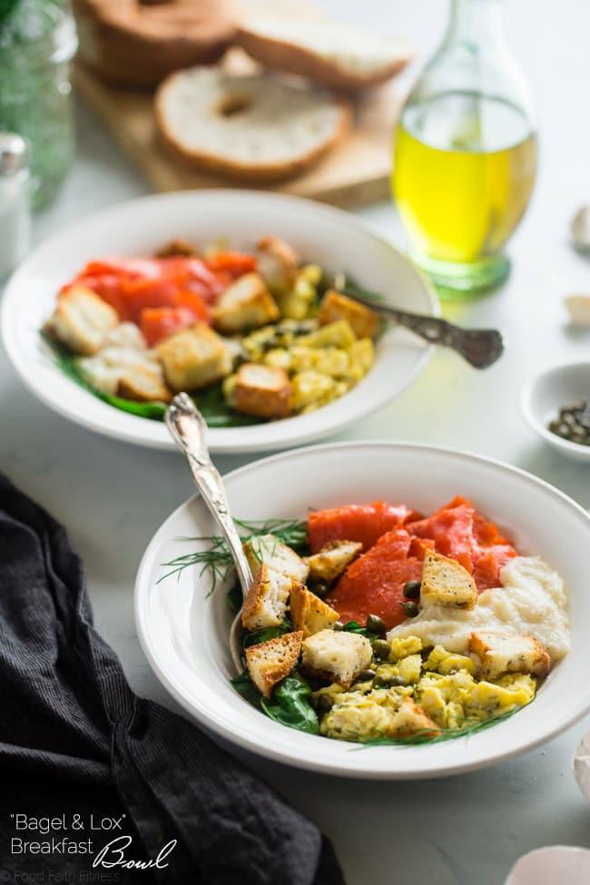 cauliflower Alfredo Lox Bagel Bowls. Gluten free, healthy, delish!