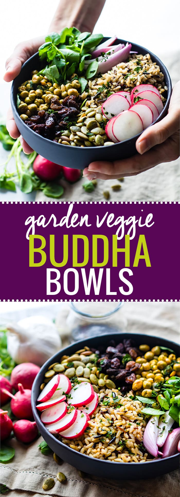 Nourishing Garden Veggie Vegan Buddha Bowl! This wholesome gluten free Buddha bowl recipe is filled with superfood ingredients that satisfy you and keep you healthy! @cottercrunch