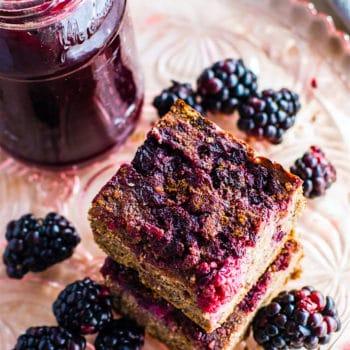 gluten free quinoa cakes with blackberries