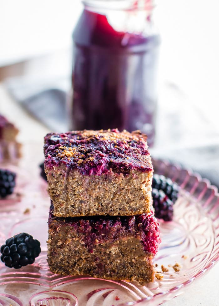 Healthy sweet quinoa cakes made with blackberry jam