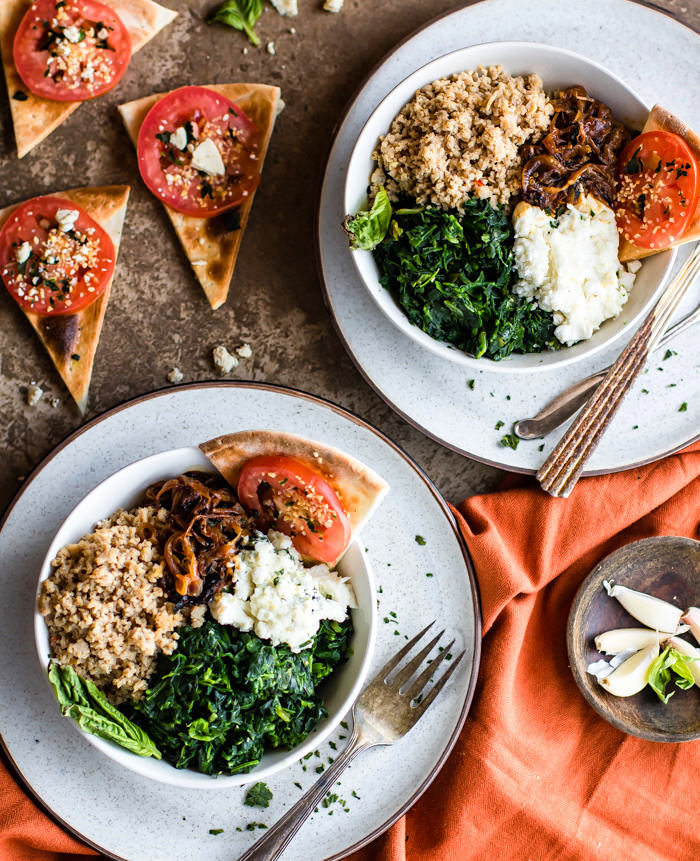 Gluten Free Homemade Pizza Bowls! These Easy homemade Pizza Bowls are a super fun way to share and customize pizza. Just fill it with all your favorite gourmet pizza toppings! Caramelized onion, goat cheese, spinach, and more