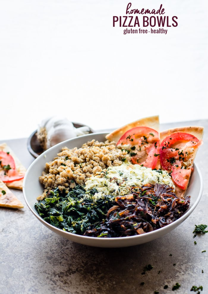 Gluten Free Homemade Pizza Bowls! These Easy homemadePizza Bowls are a super fun way to share and customize pizza. Just fill it with all your favorite gourmet pizza toppings! Caramelized onion, goat cheese, spinach, and more! @udisglutenfree