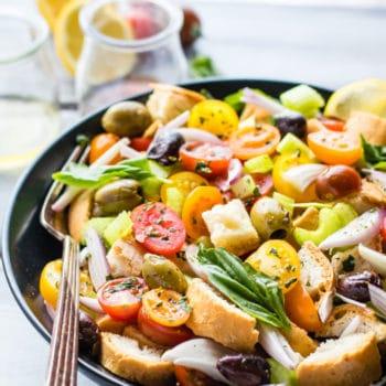 gluten free panzanella salad in a bowl