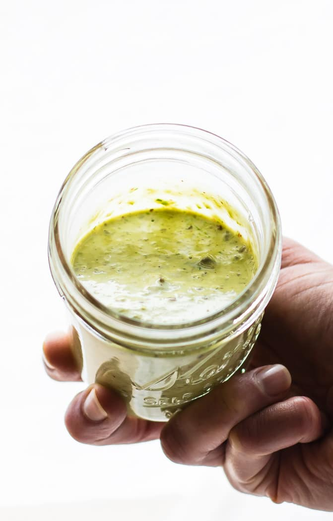 So creamy homemade vegan green goddess dressing! This vegan green goddess dressing is TO DIE FOR! Paleo friendly, made with simple healthy ingredients, and pretty much good on EVERYTHING! A staple dressing you will want to make again and again!