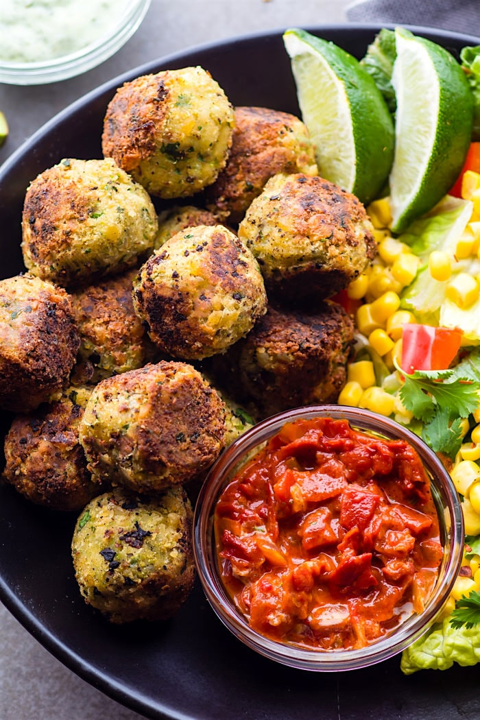 Mexican Vegan Falafel Bites that are healthy and easy to make! A quick vegan falafel recipe that's packed full of flavor and gluten free. A wholesome appetizer or healthy finger food plant based meal!