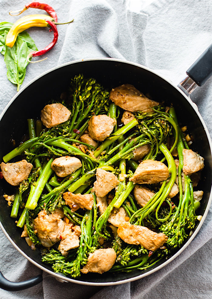 Quick Thai-Style Pork Broccolini Stir Fry. This Thai-Style Stir Fry with Pork and Broccolini is a great weeknight meal that is easy to make, gluten free, and paleo friendly. A Healthy protein packed that only takes 30 minutes from start to finish!