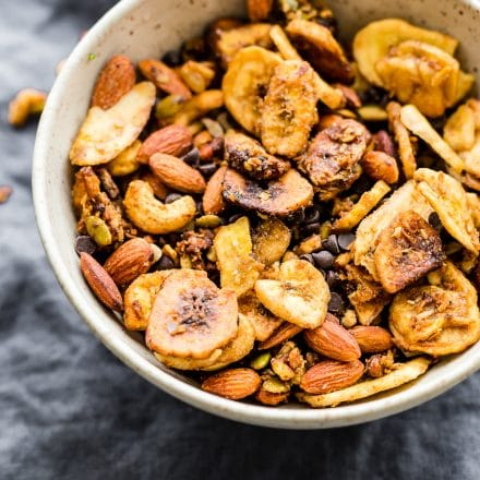 bowl of chunky monkey trail mix