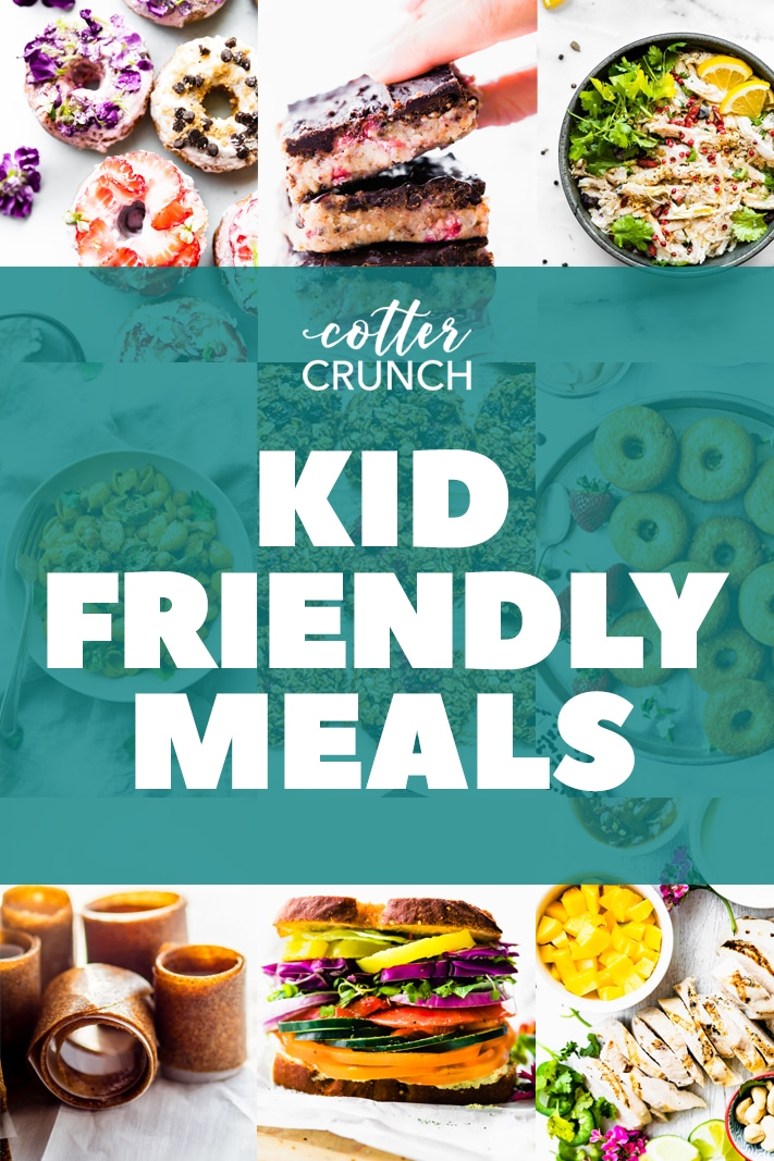 titled photo collage shows meal plan for kids with gluten-free, hidden vegetable recipes
