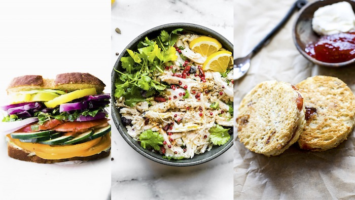 titled photo collage shows meal plan for kids with gluten-free, hidden vegetable recipes (sandwich, chicken salad)