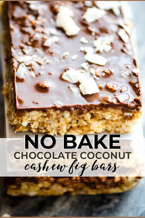 No Bake Chocolate Coconut Cashew Fig Bars pin