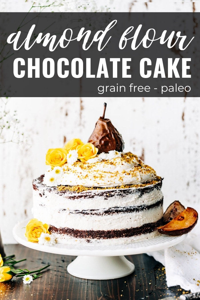 almond flour chocolate cake with flowers and fruit, collage