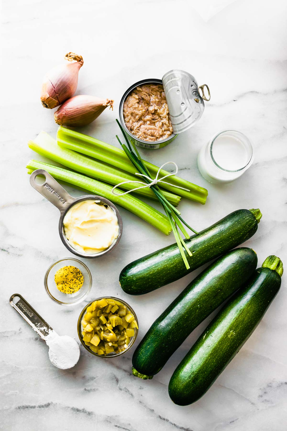 Ingredients to make tuna casserole with zucchini noodles