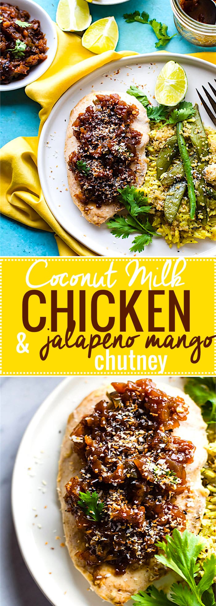 Coconut Milk Chicken with Jalapeño Mango Chutney! A dairy free, gluten free Marinated Coconut Milk Chicken Recipe that is simple, tasty, and easy. Paleo options, gluten free, dairy free! @cottercrunch