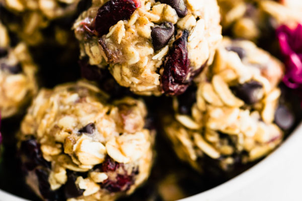 bite sized no bake oatmeal cookies in a bowl