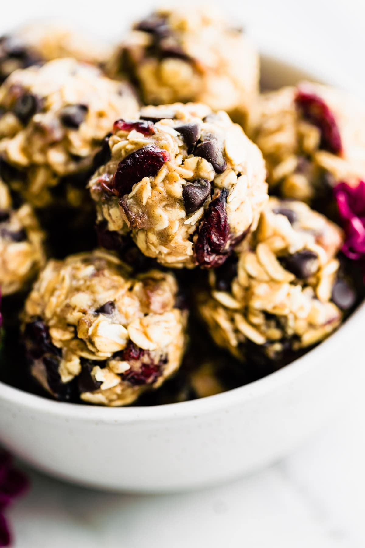 no bake oatmeal cookies energy bites in a white bowl