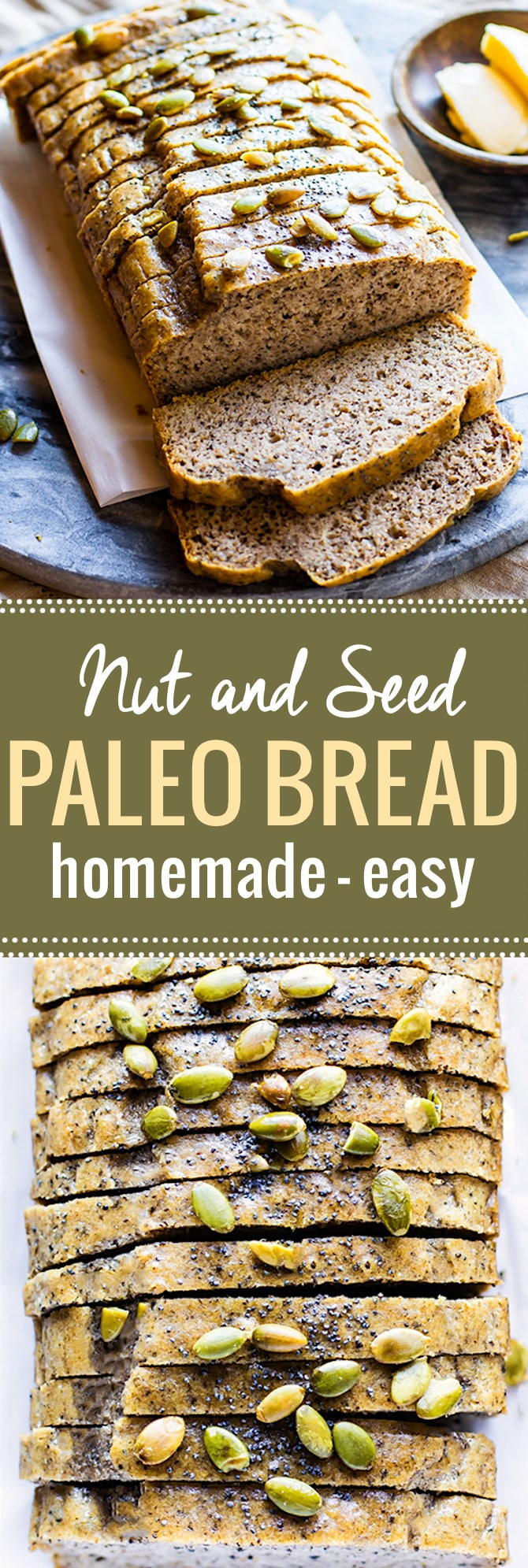 Homemade Nut and Seed Paleo Bread. Finally,  a homemade paleo bread that is soft, easy to make, and great for sandwiches. This wholesome nutty bread is freezable and low carb! A grain free bread to enjoy at each meal. @cottercrunch