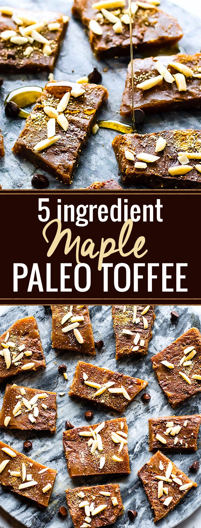Paleo Toffee made with 5 ingredients plus your favorite topping! Real butter, maple syrup, dark chocolate, etc. Healthier Paleo Toffee that's easy to make! @cottercrunch
